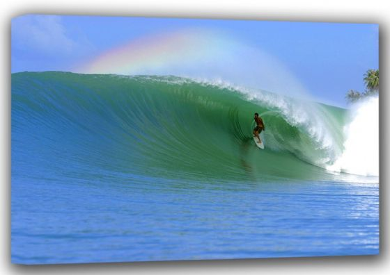 Surfing a Large Wave with Rainbow in Sky. Surf Canvas. Sizes: A4/A3/A2/A1 (001307)